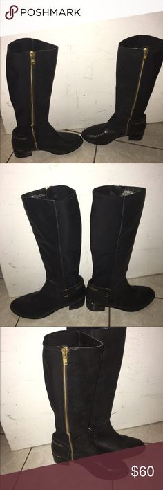 Black tall boots with gold zipper Great condition only worn a few times. Not Steve Madden but similar Steve Madden Shoes