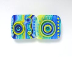 Michal S Glass Art Blue and yellow Lampwork lentil by MichalS