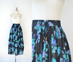 1990s Floral Skirt / 90s Indian Cotton Gauze by FemaleHysteria