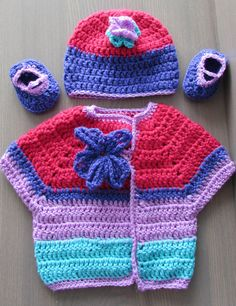 Baby Girl Sweater Hat Booties Combo in Pink Purple by coriescrafts, $24.99