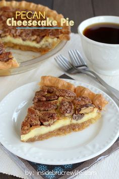 Pecan Cheesecake Pie - cheesecake layered with pecan pie for a delicious layered pie - the two best desserts baked into one! Pecan Pie Cheesecake, Cheesecake Recipes, Pie Recipes, Fudge Pie, Yummy Recipes, Just Desserts, Delicious Desserts, Yummy Food, Health Desserts