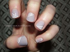 Alternating white stripes over Zoya Nail Polish in Megan