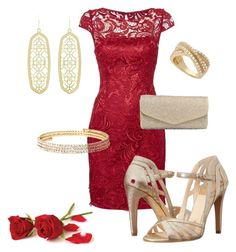 """Red lace dress #937"" by highheelsandhotflashes ❤ liked on Polyvore featuring Adrianna Papell, Isolá, J. Furmani, Kendra Scott, Vieste Rosa and Wrapped In Love"