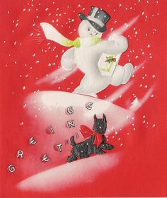 Vintage Christmas card with snowman and Scottish terrier / Scotty dog.