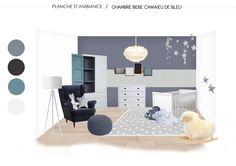 chambre pour bébé décorée avec un camaïeu de bleu