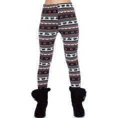 ugly Christmas sweaters reindeer | Black & Red Reindeer Pattern Leggings - Ugly Christmas Sweater