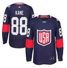 9cdca204430 Men s USA Hockey Patrick Kane adidas Navy 2016 World Cup of Hockey Premier  Player Jersey