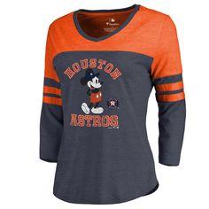 b59b0ec49 Women s Houston Astros Fanatics Branded Navy Disney MLB Tradition  Three-Quarter Sleeve Tri-Blend T-Shirt