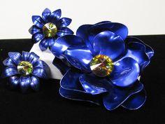 Rivoli Rhinestone Flower Brooch Earring Set Enamel Rich Colbolt Over Copper Chunky Jewelry by SassyBeauties on Etsy