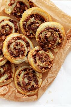 Chocolate and Toffee Pecan Pinwheel Cookies (made easy with puff pastry)
