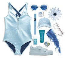 """""""Hello Blue"""" by mode-222 ❤ liked on Polyvore featuring Monki, Jil Sander, Eyeko, COOLA Suncare, Schmidt's, Thalgo and Diane James"""