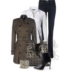 A fashion look from January 2015 featuring NIC+ZOE blouses, Burberry jackets and Paige Denim jeans. Browse and shop related looks.