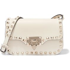 Valentino Valentino - The Rockstud Micro Leather Shoulder Bag - Ivory (€1.135) ❤ liked on Polyvore featuring bags, handbags, leather shoulder handbags, real leather purses, leather shoulder bag, white leather purse and leather handbags