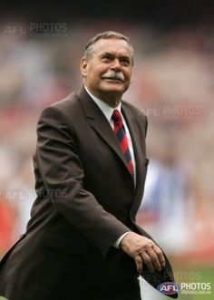 VFL Legend Ron Barassi on the field after the round five AFL match between the Melbourne Demons and the Kangaroos at the Melbourne Cricket Ground April 29, 2006.