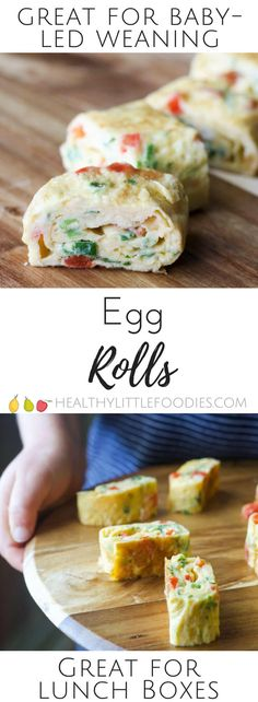 Little egg rolls are a perfect finger food for kids. Great for baby-led weaning or for adding to a lunch box. A dd your favourite omelette add ins. via @hlittlefoodies