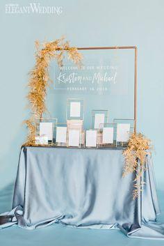 Copper Wedding Seating Chart, Copper Wedding Ideas, Spring Wedding Seating Chart, Powder Blue and Pink Wedding Theme, Wedding Flowers and Decor | ElegantWedding.ca #seatingchart #springwedding
