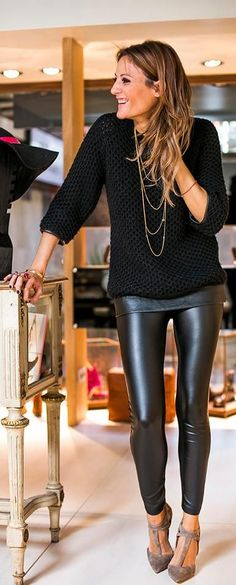 leather pants with a simple black sweater