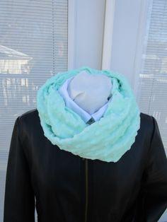Aqua, Turquoise, Minky Infinity scarf