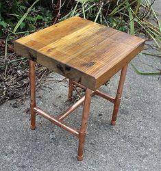 Reclaimed 2x4 & Copper Pipe Side Table by Paul Segedin & Urban Prairie Design.