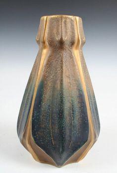"Ernst Wahliss Pottery Vase - Designed for Riessner, Stellmacher & Kessel Amphora Pottery - 9"""
