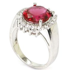 Hi End Pink Rhodolite Garnet S/Silver & AAA CZ Ring Size 7.5 Weimaraner Rescue   #Unbranded #Cluster