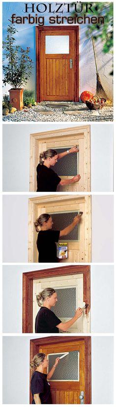 Holztüren aus Tanne oder Fichte sehen oft nicht sehr wertig aus. Mit einer farbigen Lasur kannst du die Tür aufwerten. Außerdem pflegt die Lasur das Holz und schützt zugleich vor Regen und Sonne. Wir zeigen, wie du die Tür in wenigen Schritten lasieren kannst.