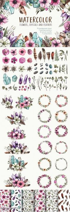 Big flowers & Crystals Bundle - 1239153
