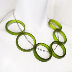 Green Glass Bottle Rings Necklace