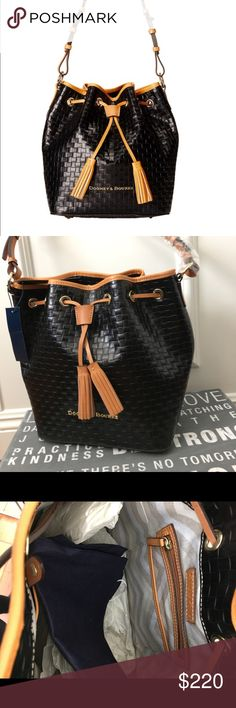 Dooney & Bourke Claremont woven collection Brand new bag never used 100% authentic! Bucket style shoulder bag made of Italian leather. Embossed with a basket weave pattern. Drawstring closure lined interior features a zip pocket and 3 slip pockets. Dooney & Bourke Bags Shoulder Bags