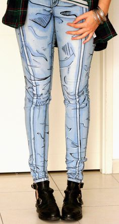 Cel shaded pants Borderlands style Comic book jeans Cosplay Pants by… Cosplay Diy, Cosplay Costumes, Simple Cosplay, Cosplay Style, Video Game Cosplay, Anime Cosplay, Jeans Skinny, Denim Jeans, Mode Vintage