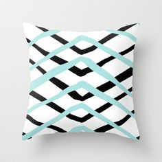 Pattern, turquoise and black Throw Pillow $20