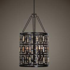 Uttermost Rhombus 5 Light Lantern Bronze Pendant - 22114