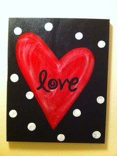 Red Heart Love Canvas by katieringer on Etsy, $25.00