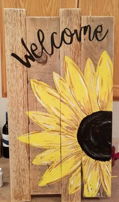 Click the link to read more about Wooden Pallet Projects Pallet Crafts, Diy Pallet Projects, Art Projects, Pallet Ideas, Sunflower Home Decor, Sunflower Art, Sunflower Crafts, Arte Pallet, Pallet Art