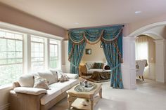 Medici Sapphire Valance Curtains with Swags and Tails - traditional - curtains - seattle - Celuce Room Divider Curtain, Curtain Sets, Curtain Room, Valances For Living Room, Swags And Tails, Traditional Curtains, Swag Curtains, Sliding Room Dividers, Separating Rooms