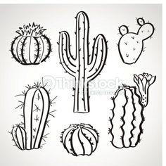 Vector Art : Ink style sketch set - cactus