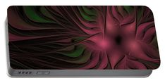 Fractal Portable Battery Charger featuring the digital art Night Blossom by Elena Ivanova IvEA #Design #Print #Gift #PortableBatteryChargers #IvEA