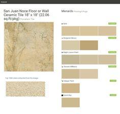 "San Juan Noce Floor or Wall Ceramic Tile 18"" x 18"" (22.06 sq.ft/pkg). Porcelain Tile. Flooring & Rugs. Menards. Behr. Benjamin Moore. Ralph Lauren Paint. Sherwin Williams. Valspar Paint. Dutch Boy.  Click the gray Visit button to see the matching paint names."