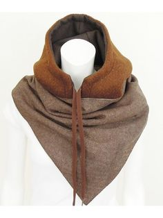 Congac Hooded Scarf Designed by NOMI by Naomi Bruinen melange wol sjaal-capuchon Hoodey bruin wol - voering seudine