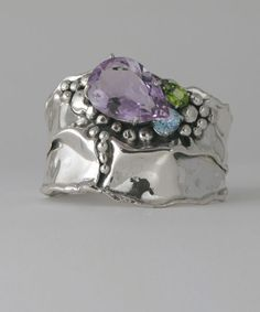 Cuff | Donald Marksz. Sterling silver and multiple stones