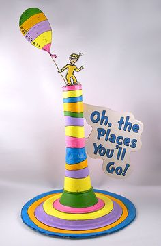 graduation table Table decoration Oh The Places Youll Go note: can be placed on Graduates table too Dr Seuss Party Ideas, Dr Seuss Birthday Party, Happy Birthday, First Birthday Parties, First Birthdays, Birthday Ideas, Birthday Cakes, Graduation Party Themes, Kindergarten Graduation