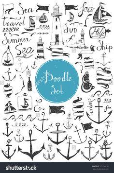 Big Doodle Set - Nautical Stok Vektör İllüstrasyonu 271234130 : Shutterstock
