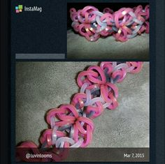 Beautiful Bracelet in pinks, white frost and silver/gray.  Visit Facebook Luvinlooms Fancy Bracelets and Accessories Or Luvinlooms@gmail.com to purchase!