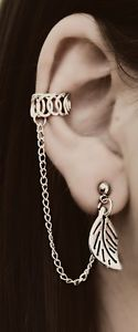 Ear Cuff with Chain and Leaf Stud. Love it.