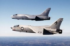 A pair of USN Vought F-8 Crusaders.