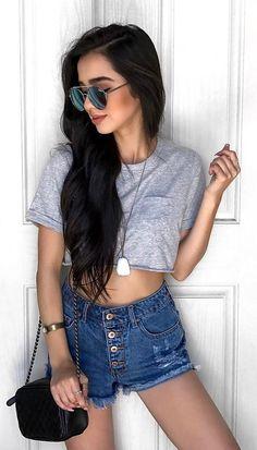 #summer #outfits  Grey Crop + Ripped Denim Short ✌🏼