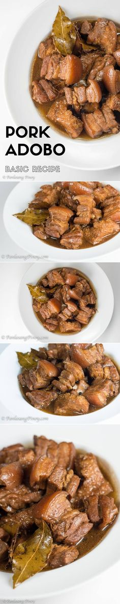 This basic pork adobo recipe shows my own way of cooking pork adobo. It depicts how I make this dish using core ingredients. Note that this method might not be the same as the traditional way, but its result has always been good **USE CHICKEN THIGHS** Filipino Recipes, Asian Recipes, Mexican Food Recipes, Filipino Dishes, Vegetarian Recipes, Pork Belly Recipes, Chicken Recipes, Cooking Pork, Cooking Recipes