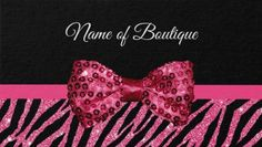 Chic Boutique Pink Glitter Zebra Print Luxe Sequin Bow Business Cards Direct Link: https://www.zazzle.com/z/yrsyx?rf=238595977796605040&tc=GBCAnimal1Pin