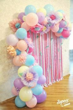 Very Peru for a little girls birthday party - Baby Shower Party Decorations Party Kulissen, Baby Party, Party Time, Party Ideas, Unicorn Birthday Parties, First Birthday Parties, Girl Birthday, Birthday Balloons, Rainbow Birthday