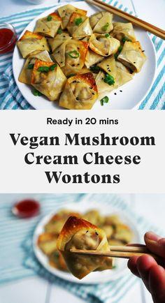 Vegan Foods, Vegan Snacks, Vegan Dishes, Easy Vegan Food, Cream Cheese Wontons, Vegan Cream Cheese, Cream Cheeses, Seitan, Whole Food Recipes